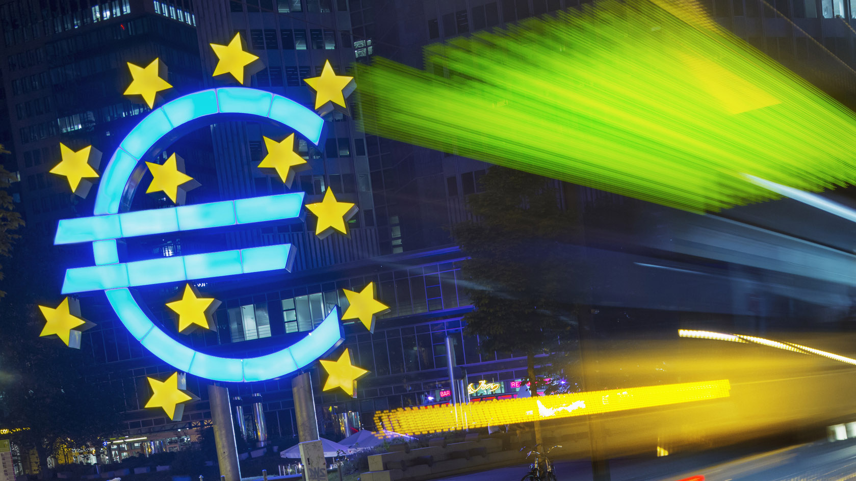 ecb sign at night